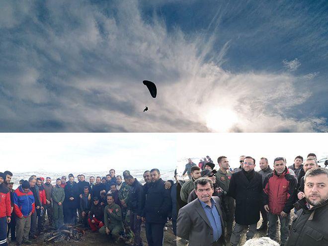 Aşıklı Dağı'nda yamaç paraşütü gösterisi yapıldı