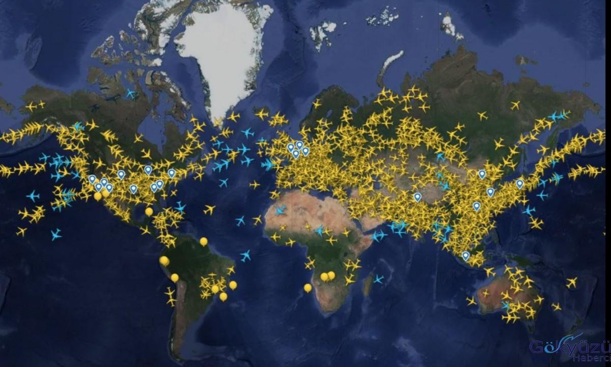 Dünyada günlük ticari uçuş trafiği ilk kez 50 bini geçti