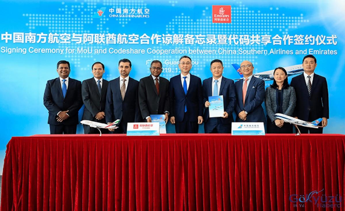 Emirates ve China Southern Airlines'tan Ortak Uçuş Anlaşması