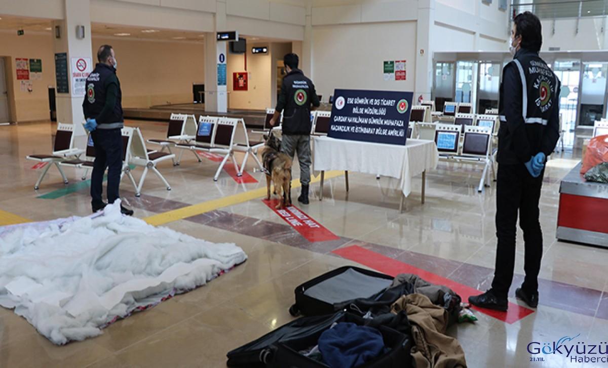 Havalimanı'nda uyuşturucuyu narkotik köpeği 'Yappa' buldu