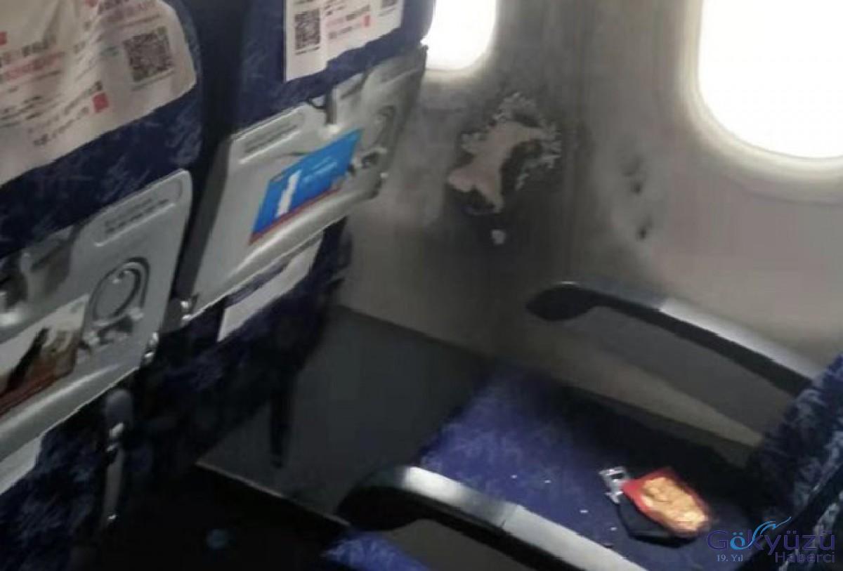 Kabinde yolcunun elinde powerbank alev aldı