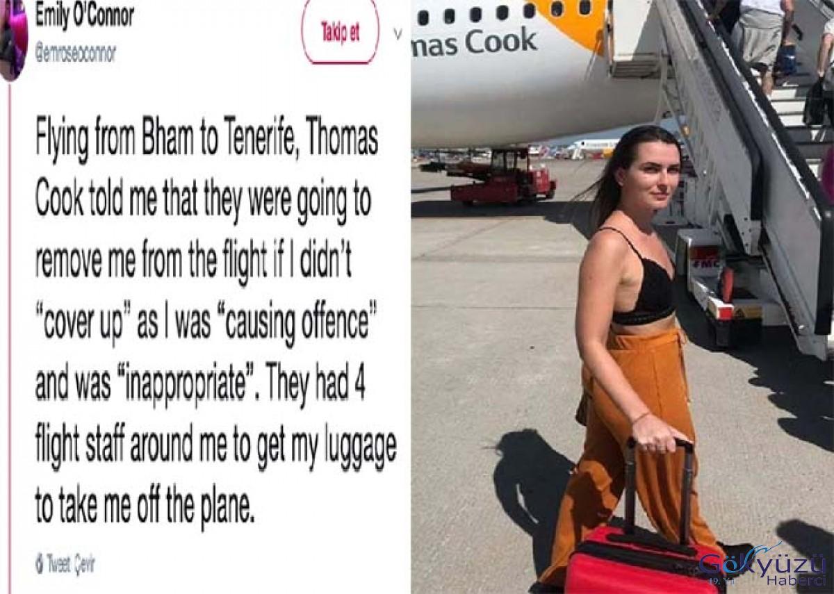 Kıyafeti açık bulunduğu için uçağa alınmadı!