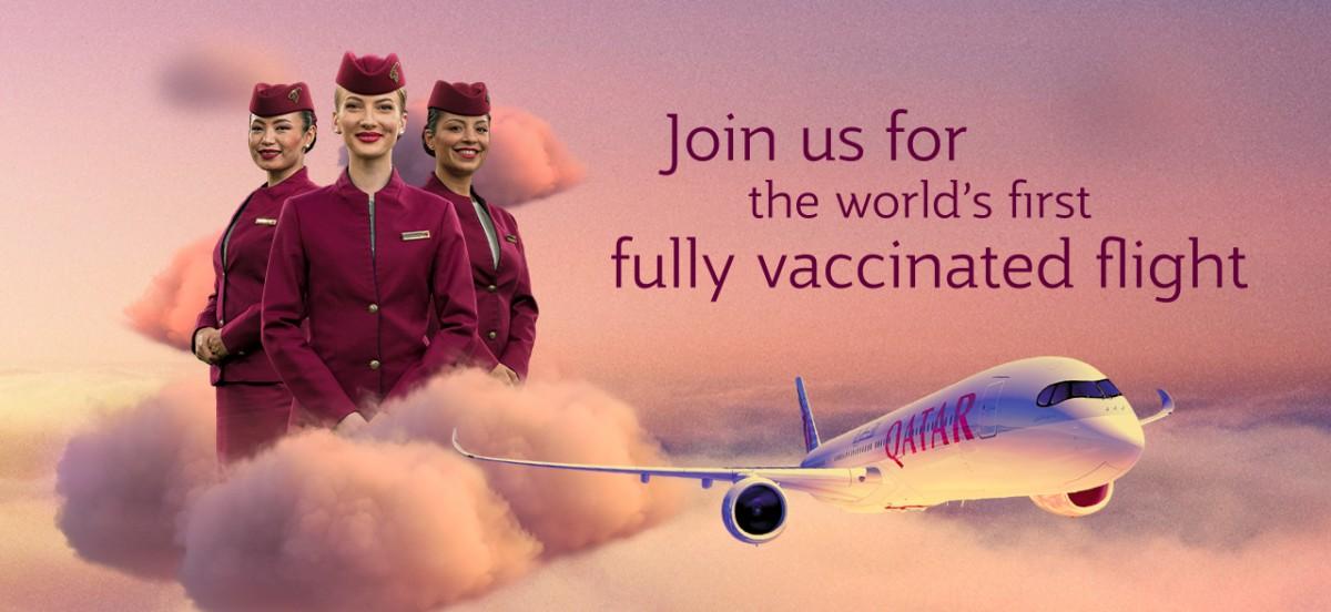 Qatar Airways, Dünyanın İlk Tam COVID-19 Aşılı Uçuşu