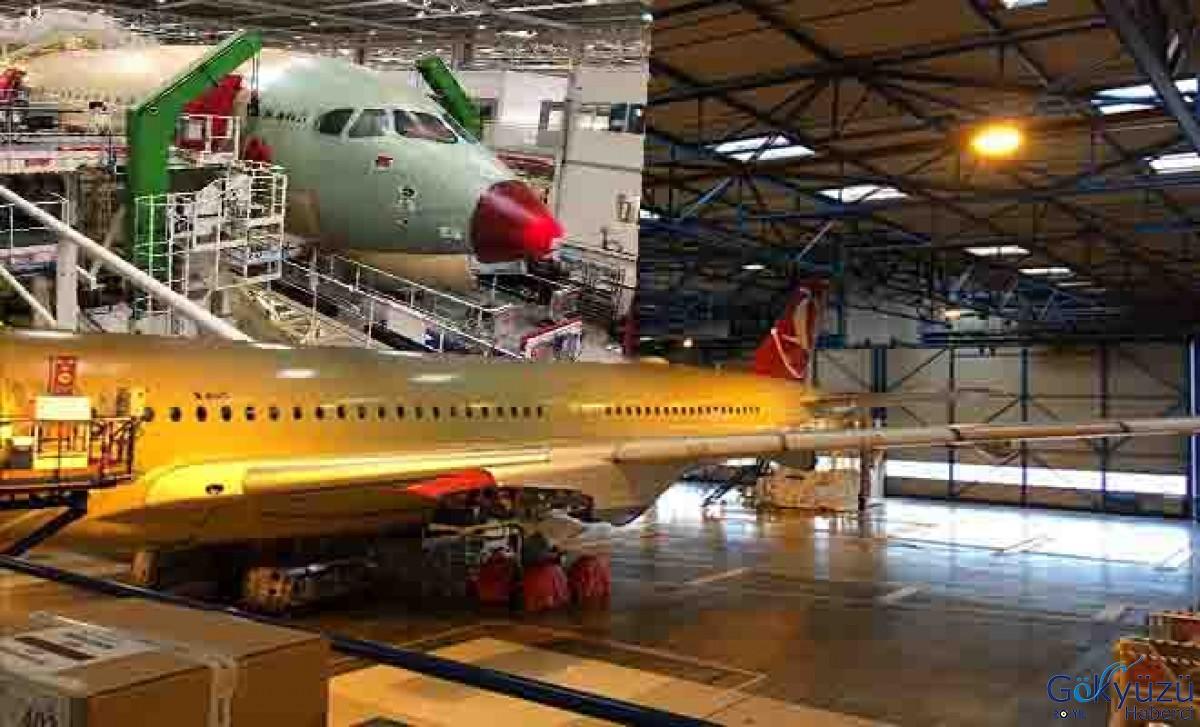 THY Airbus 350 uçağının fabrikada üretimi devam ediyor.