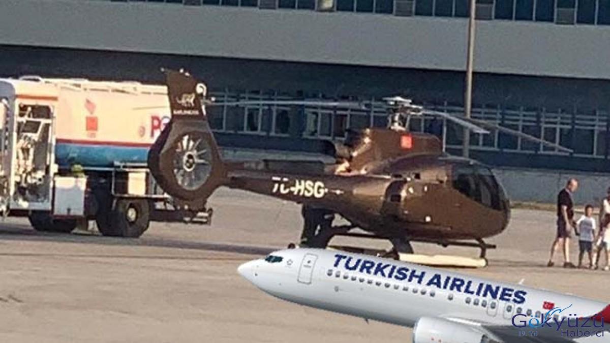 Bodrum'da THY uçağının önüne helikopter indi