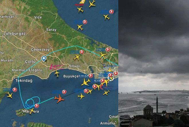 Uçaklar havalimanına inemiyor, havada tur atıyor