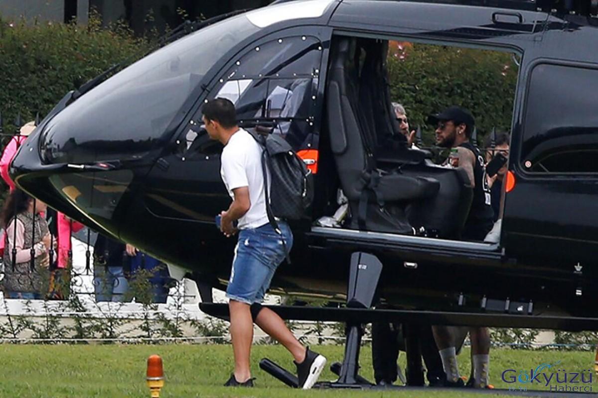 Yıldız futbolcu Neymar idmana helikopteriyle geldi!