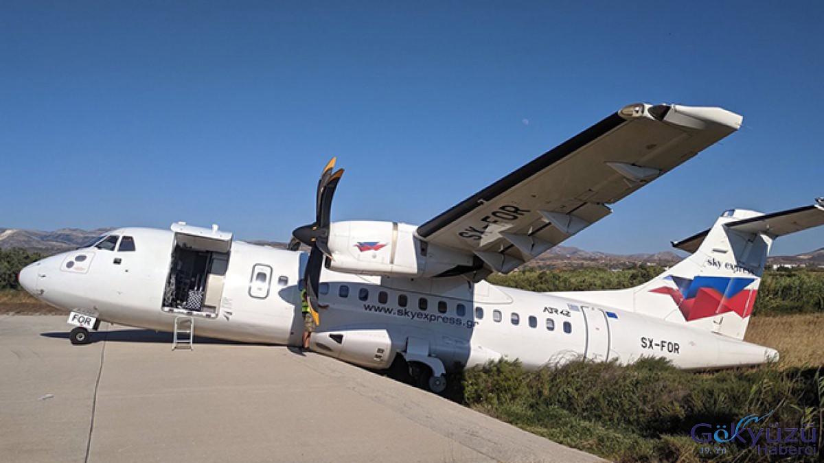 Yolcu uçağı manevra yaparken pistten düştü